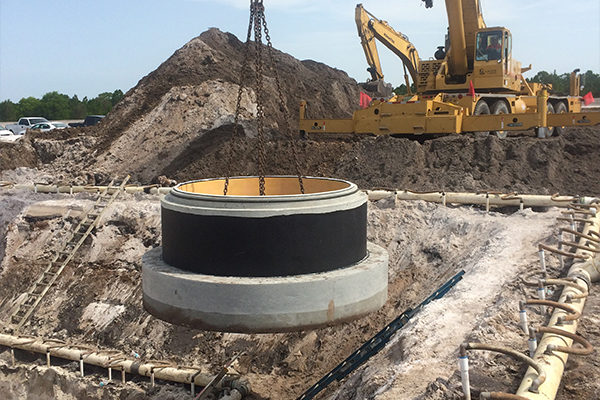 """Extra thick 24"""" solid concrete footer for extra weight"""