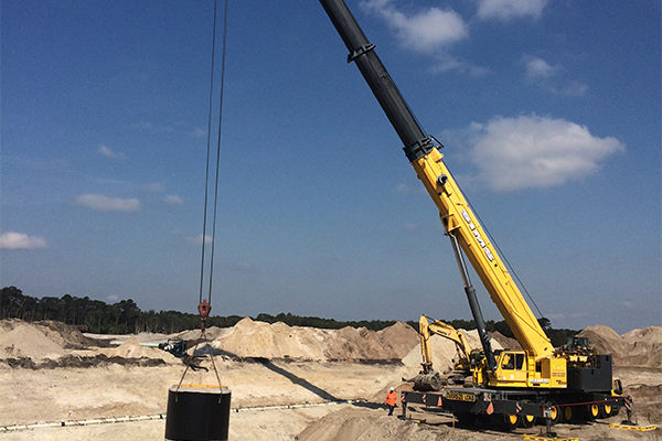 Crane setting necessary to accommodate section weights
